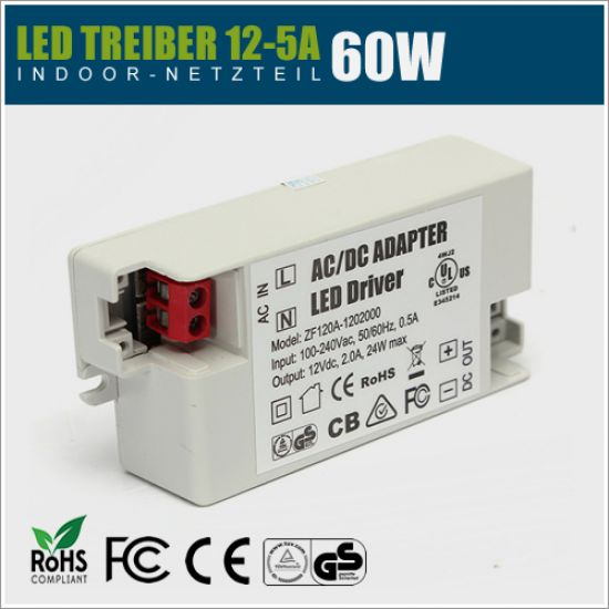 12V LED Treiber 60W - 5A IP20