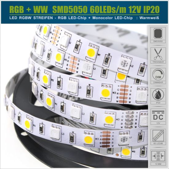 LED Streifen 12V SMD5050 60 LED/m - IP20 RGB+WW
